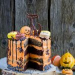 Halloween Chocolate Cake with Macarons