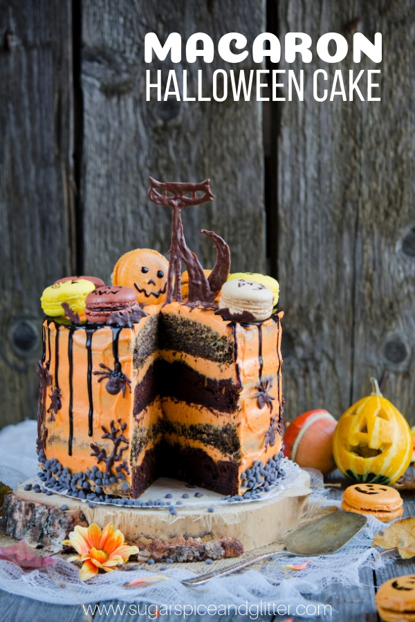 the ultimate halloween cake this chocolate cake topped with macarons is a gorgeous addition to