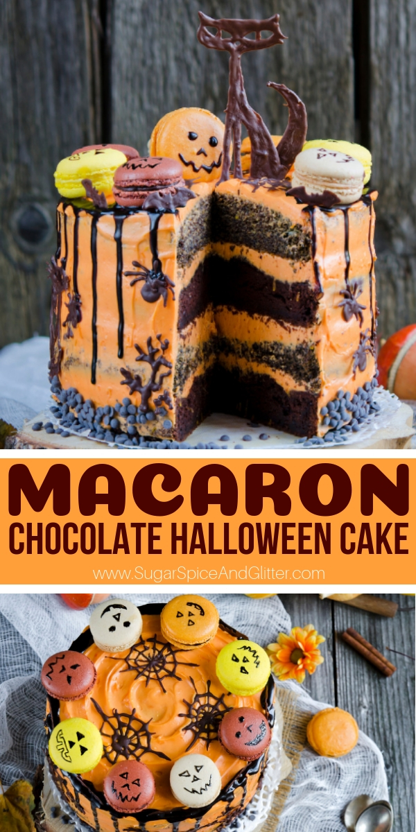 This gorgeous Halloween cake for adults is super easy and fun to make. Includes a video for the homemade macarons - or you can just use store-bought