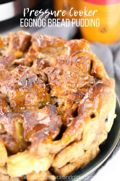 Pressure Cooker Eggnog Bread Pudding with Caramel Sauce