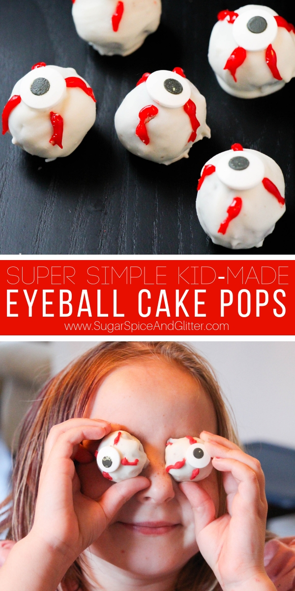 A fun Halloween cake pop recipe, these Eyeball Cake Pops are super simple to make and a spooky addition to your Halloween party!