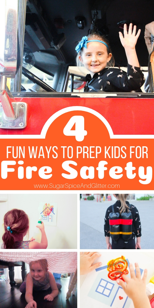 Fun Ways to Prepare Kids for Fire Safety, including fire safety sensory play, crafts, and gross motor activities to make fire safety not scary