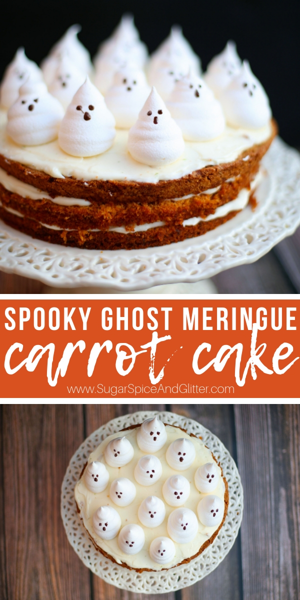 This simple Ghost Carrot Cake is an easy Halloween dessert to whip up for your family or a Halloween party! We made fresh ghost meringues as a cute Halloween cake decoration