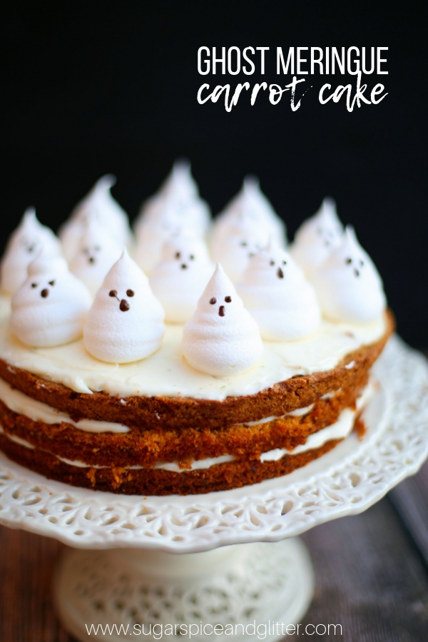 This spooky Ghost Meringue Carrot Cake is a fun Halloween dessert for grown-ups. It would be perfect for your Halloween party, or a Halloween family night dessert!