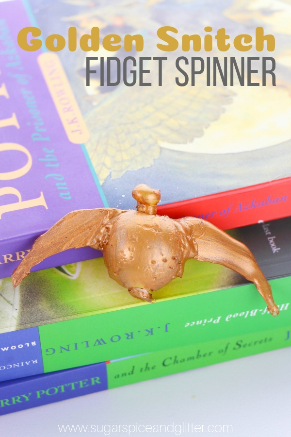 How to make a Golden Snitch Fidget Spinner, the perfect DIY Harry Potter Craft for Kids and an easy homemade sensory toy