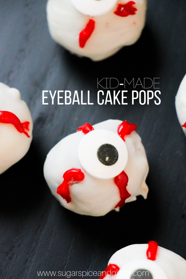 These super easy Halloween cake pops are simple enough for kids to help make, an easy Eyeball Dessert for Halloween
