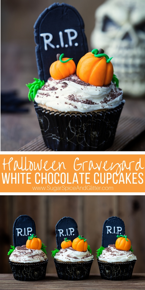 Halloween Graveyard White Chocolate Cupcakes with white chocolate buttercream frosting and spooky fondant decorations. A super simple yet grown-up tasting Halloween party recipe
