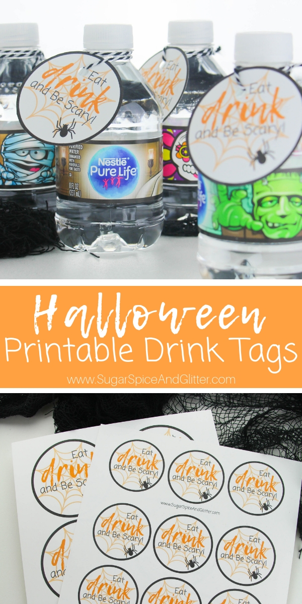 A fun addition to your Halloween party, these Printable Halloween Drink Tags add a fun element to your party table!