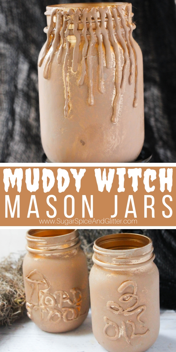 A super easy Halloween mason jar craft, these Muddy Magic Potion Mason Jars look like they've just tumbled out of a witch's dusty lair and make a great addition to your Halloween home decor.