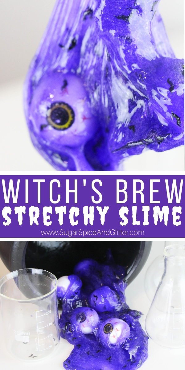 A fun Halloween slime recipe, this Witch's Brew Slime is stretchy and spooky - the perfect 3-ingredient contact solution slime recipe for kids!