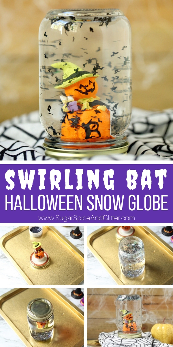 A fun Halloween Snow Globe, this mason jar snow globe is a super simple Halloween craft for kids that makes a great piece of homemade Halloween decor, too!