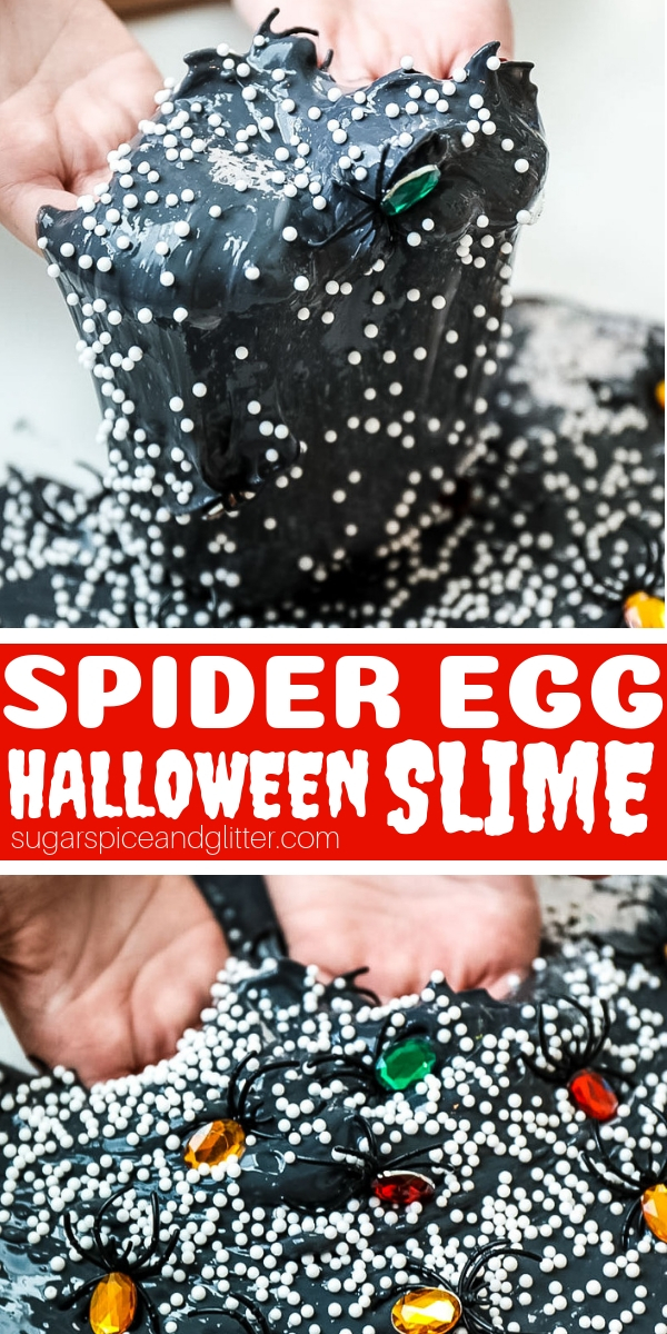 This spooky spider slime is perfect for Halloween or after reading a Spider book with kids. Simple directions for how to make black slime