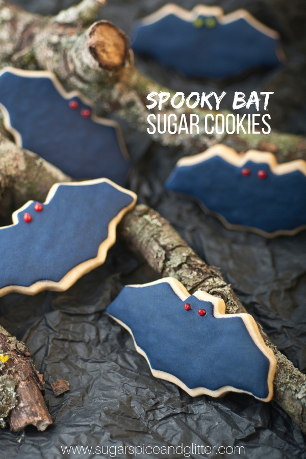 These super simple bat sugar cookies are the perfect easy sugar cookie to make for a Halloween party. They freeze well if you need to prep them ahead of time, too. Halloween sugar cookie recipe