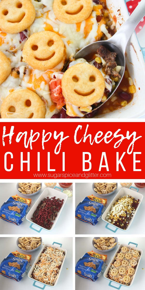 This super simple recipe for a Cheesy Chili Bake is the best chili recipe for families, packed with plenty of vegetables, lots of flavor, and topped with Smiles!