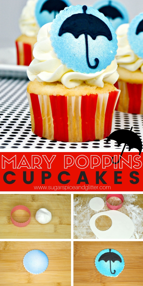 These simple Disney fondant cupcakes are inspired by Mary Poppins - they are the perfect Disney dessert for your Mary Poppins party or Disney movie night