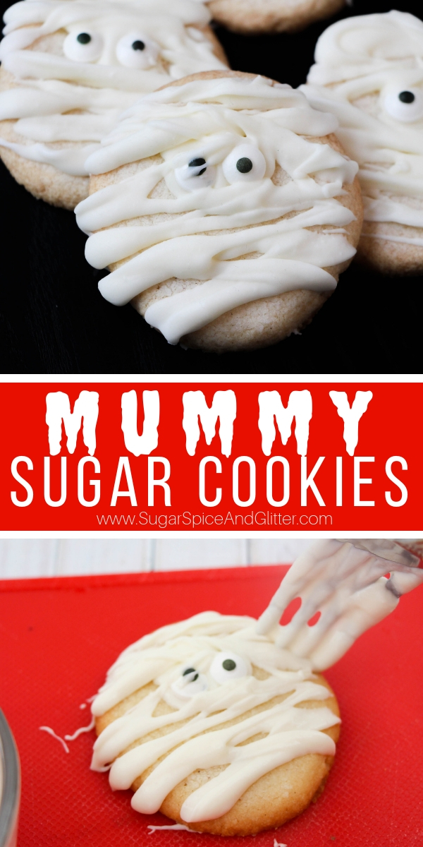 A fun Halloween cookie recipe that kids can make, these Mummy Cookies are a super simple sugar cookie perfect for Halloween!