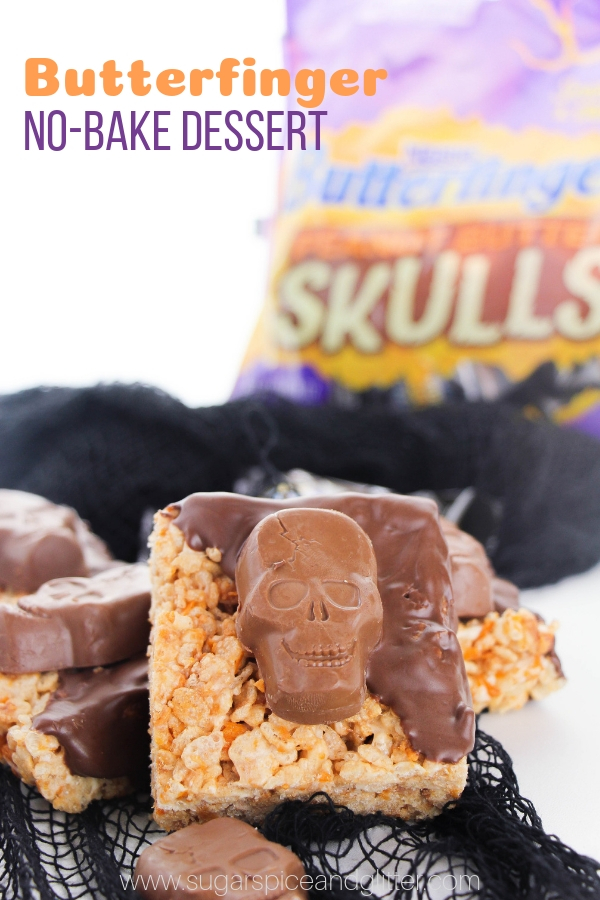 These No-Bake Butterfinger Treats are a spookily scrumptious recipe for your upcoming Halloweenspell-a-bration - and they are so simple to make, the kids can help!