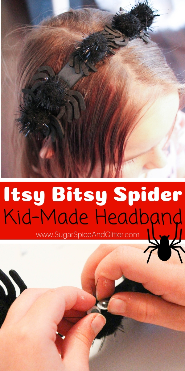 "A fun spider headband craft, perfect for a spider theme or the child obsessed with ""Itsy Bitsy Spider"" - also makes a great Halloween hair accessory for kids"