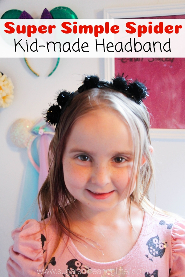 This super simple spider headband craft is a fun Halloween craft for kids and makes a great Halloween accessory if your school doesn't allow costumes.