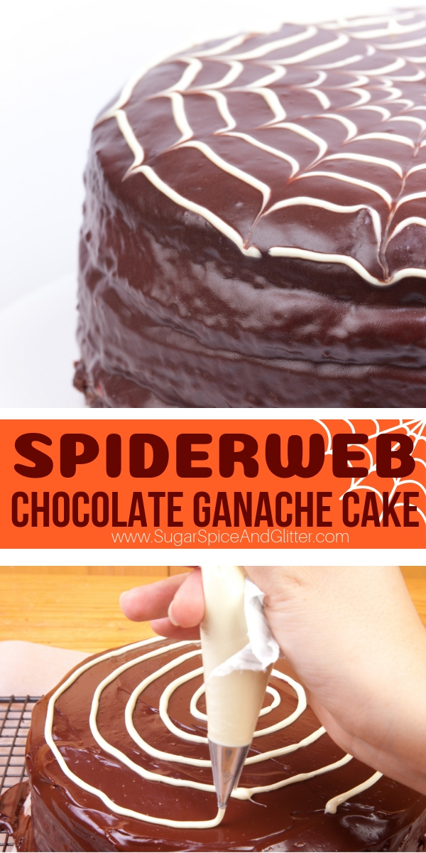 A fun spider web dessert for Halloween, this Chocolate Ganache Spider Web Cake is a super easy Halloween cake that makes a big impression! Perfect for Halloween parties