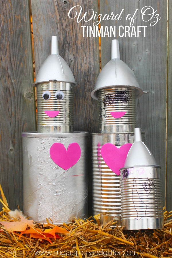 EVERYONE does Scarecrows for fall - why not do a Wizard of Oz-inspired Tin Man Craft? This tin can tin man craft is a fun way to reuse recyclables with your kids and create some fun fall decor - perfect for a Wizard of Oz party