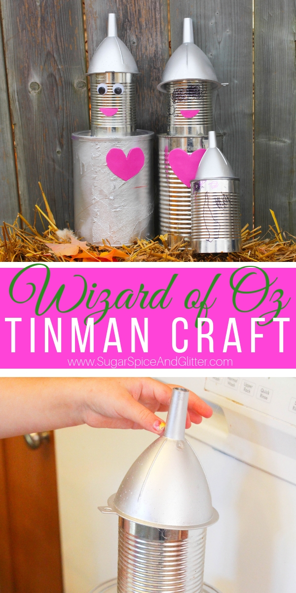 This Wizard of Oz craft for a Tin Can Tin Man craft is a simple recycled materials craft that makes a cute piece of fall decor!