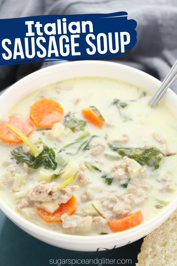 A delicious and creamy Italian Sausage Soup chock full of veggies and protein that tastes absolutely restaurant-quality. Comfort food soup recipe