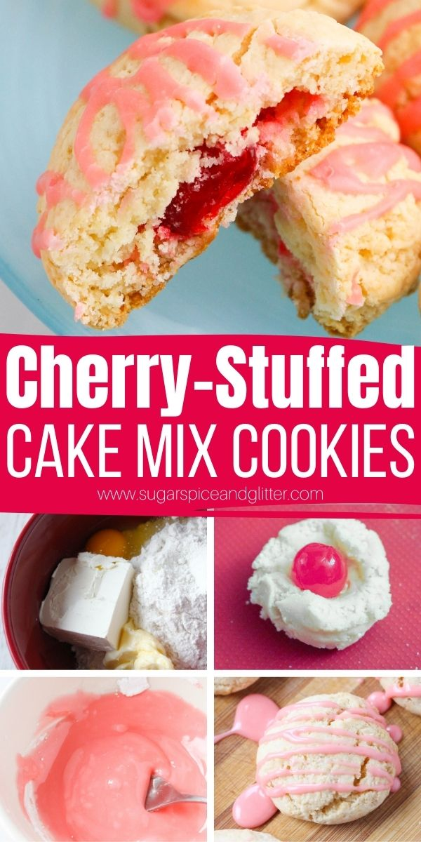 How to make cake mix cookies, a fun cake mix hack recipe that results in tender, fluffy, melt-in-your-mouth cookies with a surprise cherry filling. Quick and easy enough to make with the kids, too.