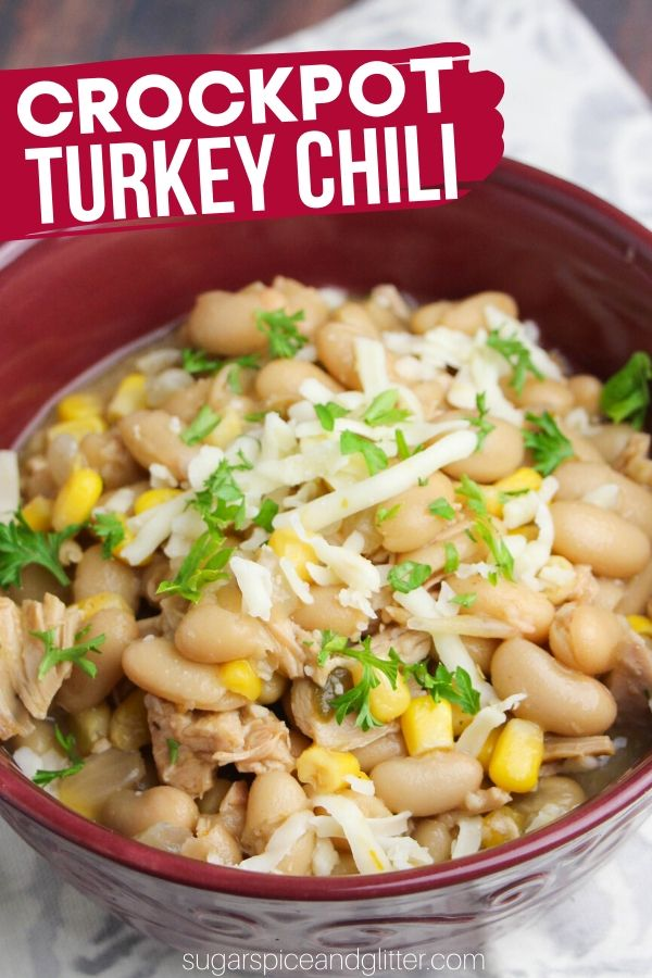 Leftover turkey? Make this delicious and healthy Crockpot White Turkey Chili - super flavorful and packed full of protein!