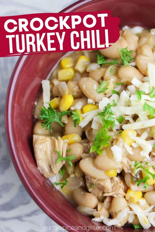 A delicious Crockpot Chili Recipe using leftover turkey, this flavorful chili is super healthy, filling and flavorful