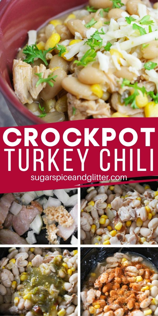 A super easy and delicious crockpot chili recipe - use leftover turkey or chicken to make this flavorful white chili recipe