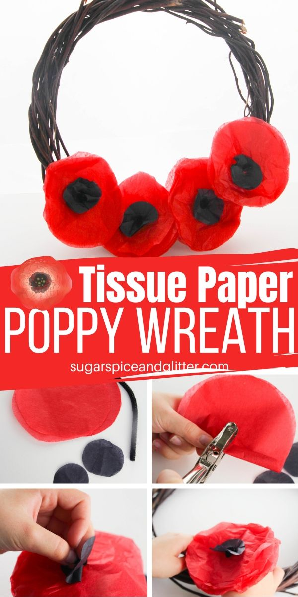 Step-by-step tutorial on how to make tissue paper poppies, whether for a wreath or other civic display. A great Remembrance Day craft for kids