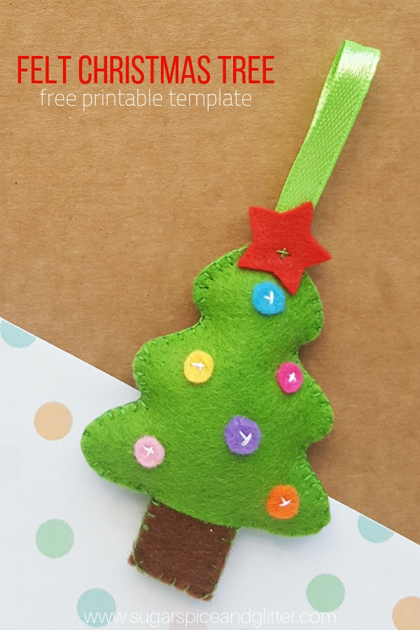 image regarding Free Printable Christmas Ornament Patterns identify Felt Xmas Tree Craft ⋆ Sugar, Spice and Glitter