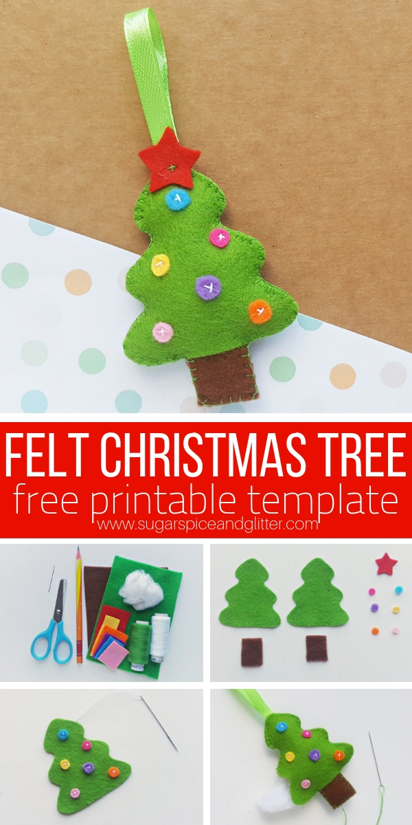 Grab our free sewing template for this Felt Christmas Tree Ornament sewing project for the holidays
