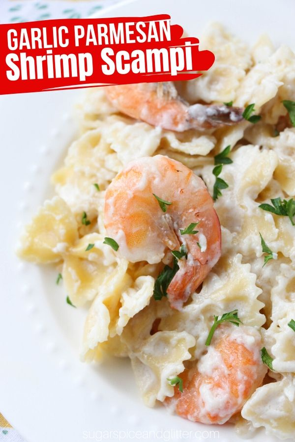 A lightened up and healthier shrimp scampi recipe made with plenty of garlic, lemon, Parmesan and milk instead of heavy cream. A delicious seafood recipe the whole family will enjoy