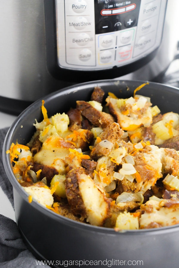 How to make bread stuffing in the instant pot - a quick and easy tutorial that you can adjust to suite your favorite stuffing recipe