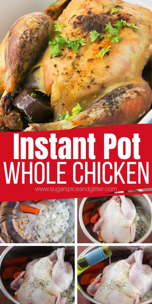 An entire chicken dinner - including vegetable side and gravy - made completely in the Instant Pot! This Instant Pot Whole Chicken recipe is Italian-inspired with amazing flavor, plus tips on how to change up this method for other flavors or even using frozen chicken