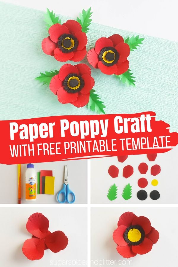 How to make paper poppies for Memorial Day, perfect for attaching to a frame or wreath, or making into magnets or pins