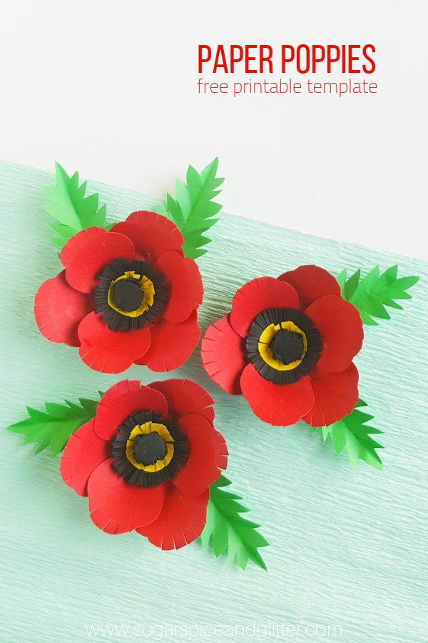 graphic about Poppy Printable named Paper Poppy Craft ⋆ Sugar, Spice and Glitter