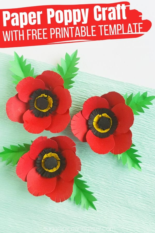 Making DIY paper poppies with kids is a great way to facilitate conversations about the reasons for Remembrance Day, Veteran's Day or Memorial Day. An easy flower craft for kids