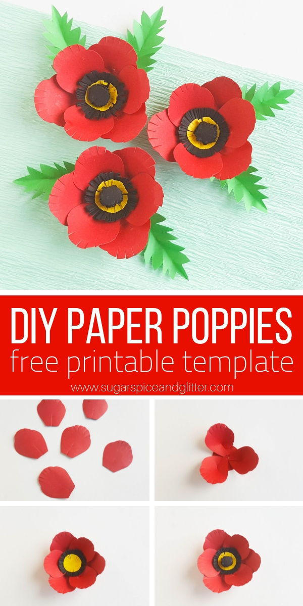A free printable and step-by-step tutorial for how to make paper poppies for Memorial Day. A simple poppy craft for older kids