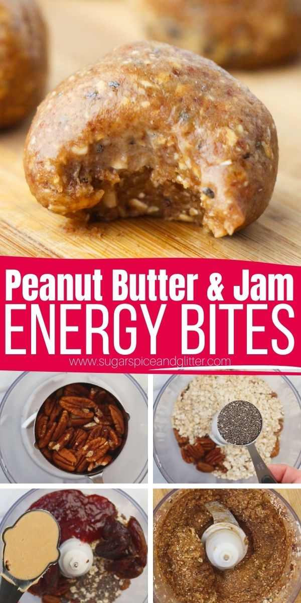 How to make peanut butter and jam energy bites. An easy on-the-go breakfast or healthy snack, these PB&J (Peanut Butter and Jam) Energy Balls are a quick recipe your kids will love.