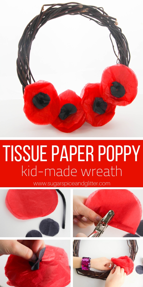 A simple poppy craft for kids, this Tissue Paper Poppy Wreath is a gorgeous Remembrance Day craft or Veteran's Day project for kids