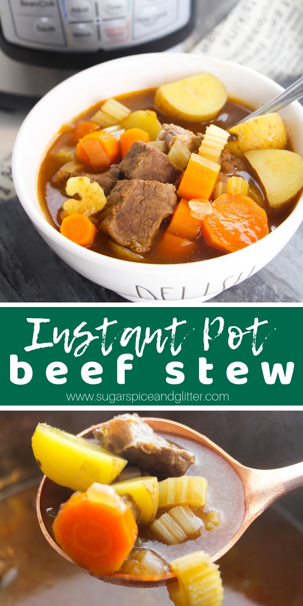 A delicious Instant Pot beef recipe for one of the best comfort foods out there, this Instant Pot Beef Stew is flavorful, perfectly cooked and ready to enjoy in less than 30 minutes (including chopping time)!