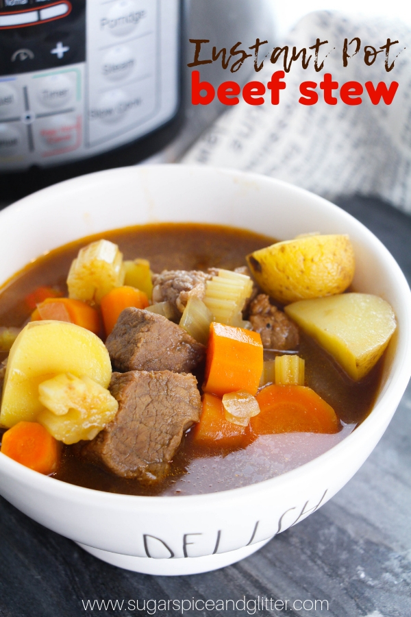 An easy Pressure Cooker comfort food recipe, this Pressure Cooker Beef Stew is flavorful and delicious and comes together in less than 30 minutes