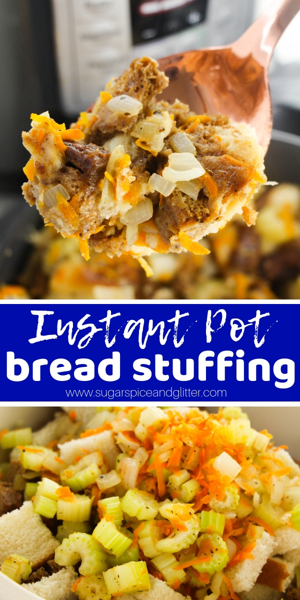 Everything you need to know to make the best ever stuffing in your instant pot! Shave over an hour off of your holiday cooking time by making Instant Pot Stuffing that is just as flavorful and melt-in-your-mouth as traditional bread stuffing
