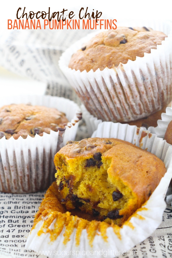 These Pumpkin Chocolate Chip Muffins have a secret ingredient in the mix: bananas! A delicious pumpkin muffin that tastes like it came from a bakery