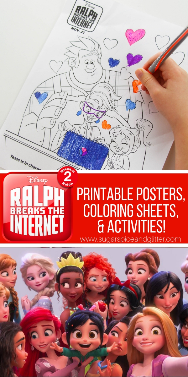 Printable Disney coloring sheets for Ralph Breaks the Internet, perfect for a Disney family movie night