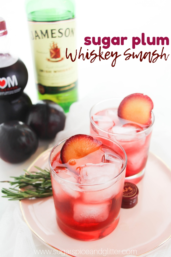 A fun holiday cocktail inspired by the Nutcracker, this Sugar Plum Whiskey Smash features caramelized plums for a natural sweetness
