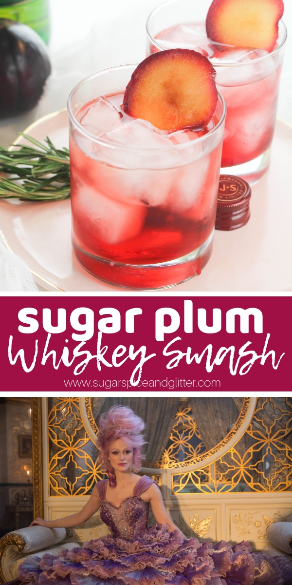 A fun fruity whiskey smash cocktail inspired by the Nutcracker, perfect for Christmas parties or entertaining